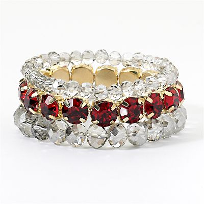 Simply Vera Vera Wang Gold Tone Simulated Crystal Stretch Bracelet Set