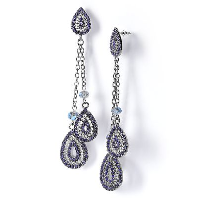 Simply Vera Vera Wang Jet Simulated Crystal Linear Drop Earrings