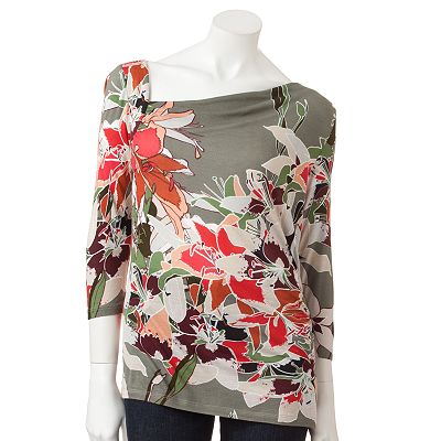 Jennifer Lopez Floral Asymmetrical Top