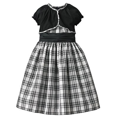 Chaps Plaid Taffeta Dress and Shrug Set - Girls 7-16