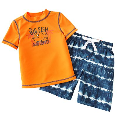 Jumping Beans Big Fish Rash Guard and Swim Trunks Set - Toddler