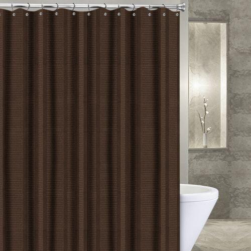 Popular Bath Waffle Stripe Fabric Shower Curtain