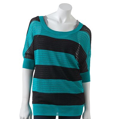 AB Studio Striped Open-Work Sweater