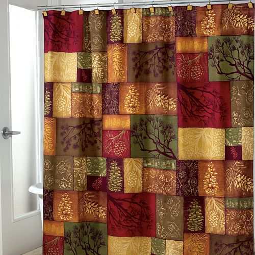Avanti Christmas Adirondack Pine Fabric Shower Curtain
