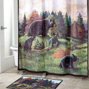Avanti Black Bear Lodge Fabric Shower Curtain