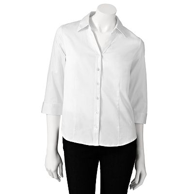 212 Collection Solid Sateen Shirt - Petite