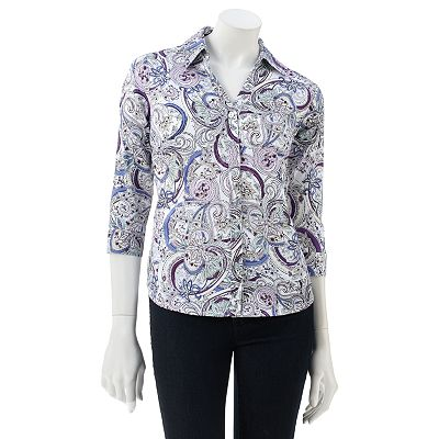 212 Collection Scroll Sateen Shirt - Petite
