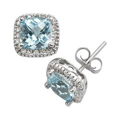 10k White Gold .16 ctT.W. Diamond & Blue Topaz Frame Stud Earrings