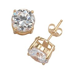 24k Gold Plated Cubic Zirconia Stud Earrings