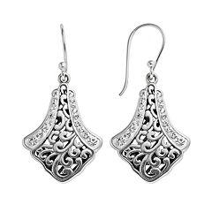 Sterling Silver Crystal Bali Drop Earrings
