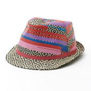 Mudd Color-Accent Geometric Straw Fedora