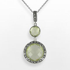 Lavish by TJM Sterling Silver Lemon Quartz Circle Pendant - Made with Swarovski Marcasite