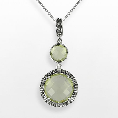 Lavish by TJM Sterling Silver Lemon Quartz Circle Pendant - Made with Swarovski Marcasite