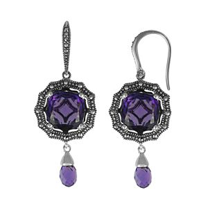 Lavish by TJM Sterling Silver Lab-Created Quartz Drop Earrings - Made with Swarovski Marcasite