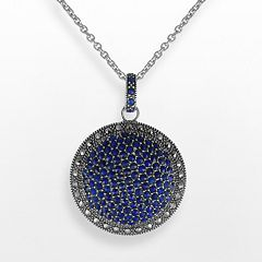 Lavish by TJM Sterling Silver Lapis Circle Pendant - Made with Swarovski Marcasite