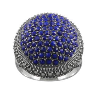 Lavish by TJM Sterling Silver Lapis Circle Ring - Made with Swarovski Marcasite