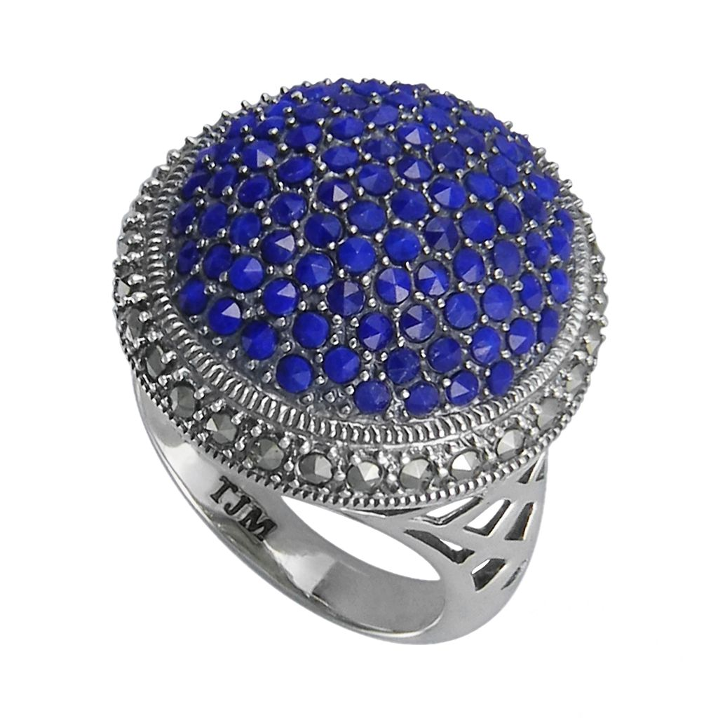 Lavish by TJM Sterling Silver Lapis Circle Ring - Made with Swarovski Marcasite