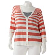 SONOMA life + style Striped Raglan Cardigan - Women's Plus