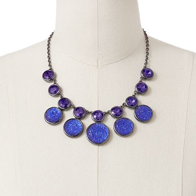 Dana Buchman Jet Simulated Crystal Studded Circle Link Bib Necklace