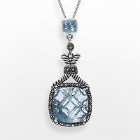 Lavish by TJM Sterling Silver Lab-Created Blue Quartz Pendant - Made with Swarovski Marcasite