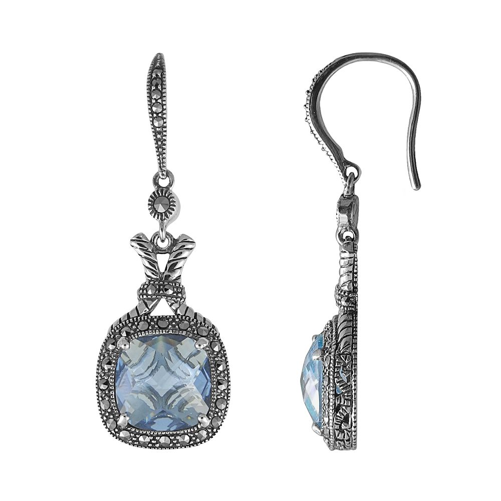 Lavish by TJM Sterling Silver Lab-Created Blue Quartz Drop Earrings - Made with Swarovski Marcasite