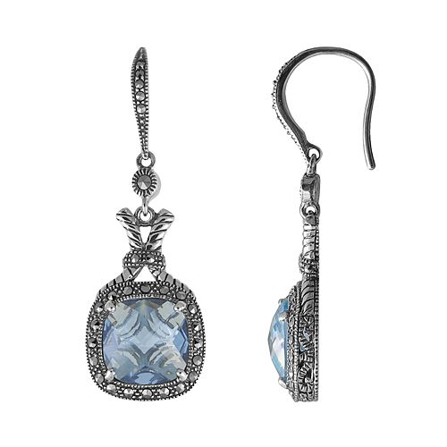 Lavish By Tjm Sterling Silver Lab Created Blue Quartz Drop Earrings Made With Swarovski Marcasite