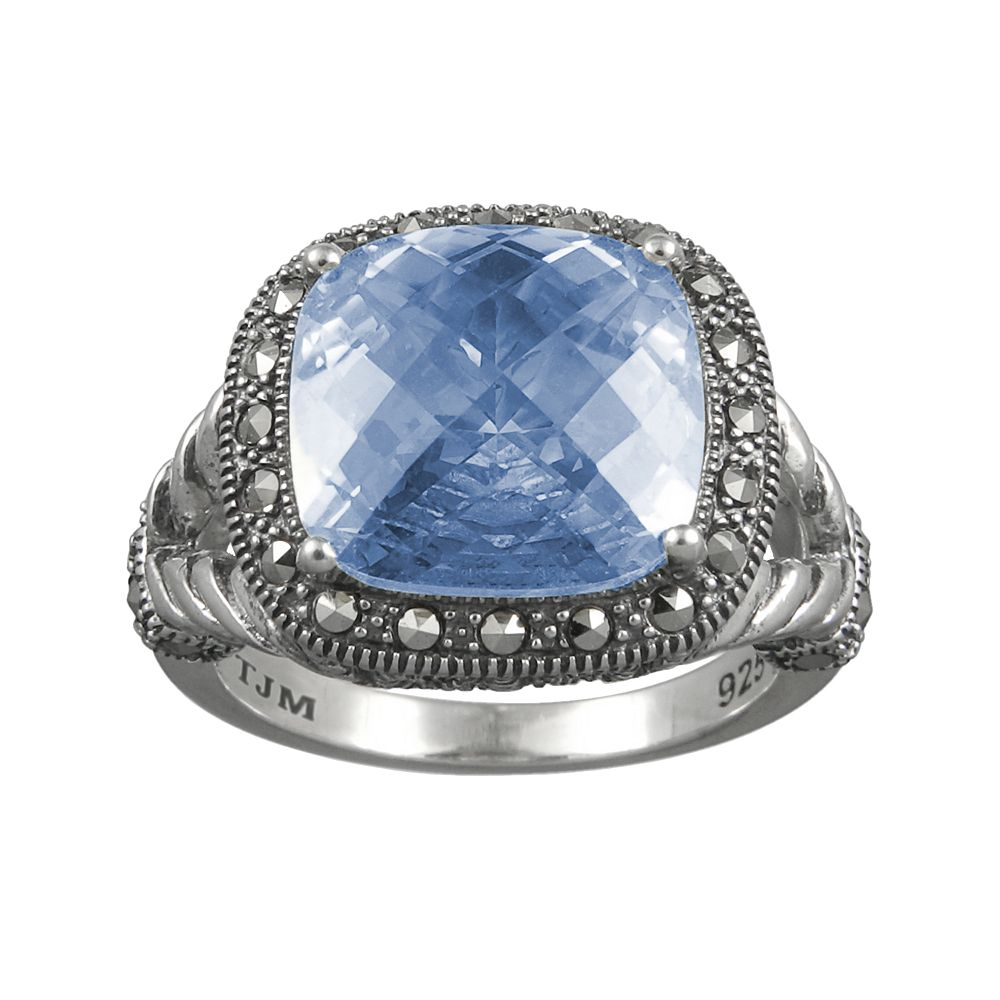 Lavish by TJM Sterling Silver Lab-Created Blue Quartz Frame Ring - Made with Swarovski Marcasite