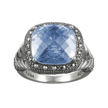 Lavish by TJM Sterling Silver Lab-Created Blue Quartz Frame Ring - Made with Swarovski Marcasite