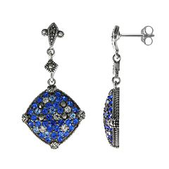 Lavish by TJM Sterling Silver Crystal Kite Drop Earrings - Made with Swarovski Marcasite