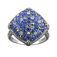 Lavish by TJM Sterling Silver Crystal Kite Ring - Made with Swarovski Marcasite
