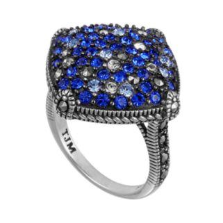 Lavish by TJM Sterling Silver Crystal Kite Ring - Made with Swarovski Marcasite