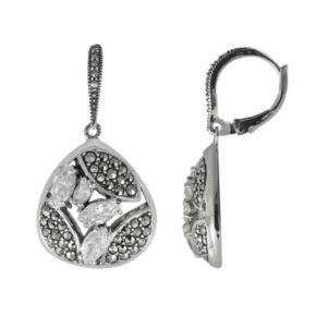 Lavish by TJM Sterling Silver Cubic Zirconia Drop Earrings - Made with Swarovski Marcasite