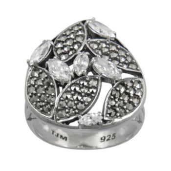 Lavish by TJM Sterling Silver Cubic Zirconia Openwork Ring - Made with Swarovski Marcasite