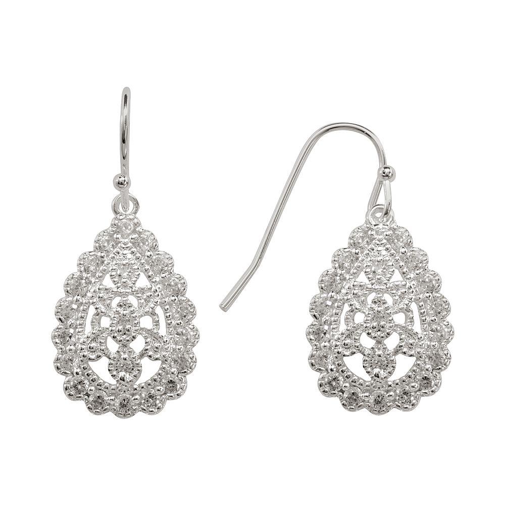 Silver Plated Cubic Zirconia Filigree Teardrop Earrings