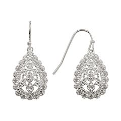 Silver Plated Cubic Zirconia Filigree Teardrop Earrings