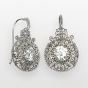 Silver Plated Cubic Zirconia Filigree Disc Drop Earrings