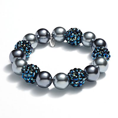 Croft and Barrow Silver Tone Simulated Pearl and Bead Stretch Bracelet