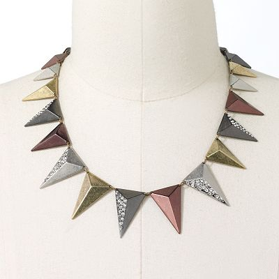 Rock and Republic Four Tone Simulated Crystal Pyramid Collar Necklace