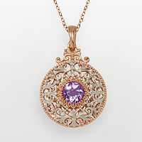 18k Rose Gold Over Silver Plate & Silver Plate Cubic Zirconia Filigree Disc Pendant