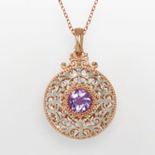 18k Rose Gold Over Silver Plate and Silver Plate Cubic Zirconia Filigree Disc Pendant