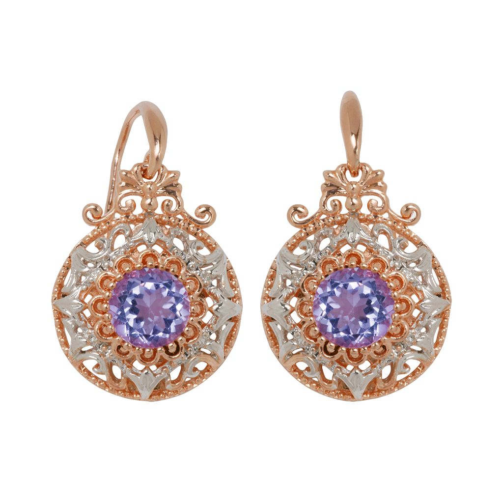 18k Rose Gold Over Silver Plate & Silver Plate Cubic Zirconia Drop Earrings