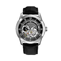 Bulova Men's Leather Automatic Skeleton Watch - 96A135