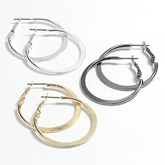 Mudd® Flat Tube Hoop Earring Set