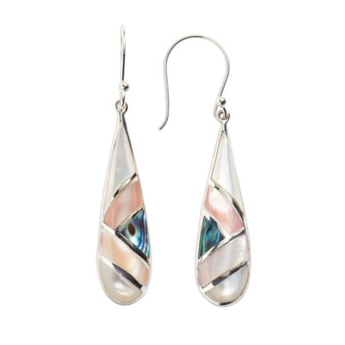 Sterling Silver Mother-of-Pearl and Abalone Teardrop Earrings