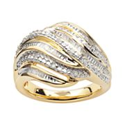 18k Gold Over Silver 1/4-ct. T.W. Diamond Swirl Ring
