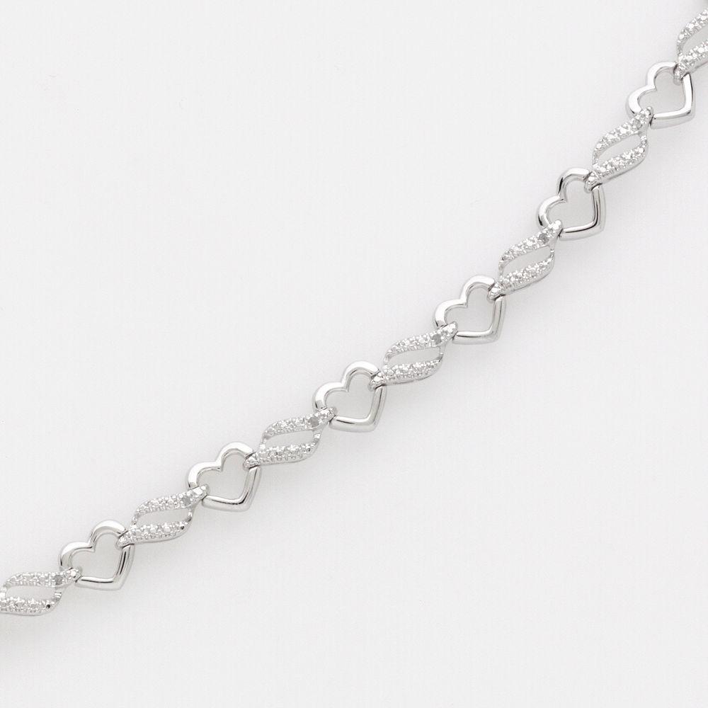 Sterling Silver 1/10-ct. T.W. Diamond Heart Link Bracelet
