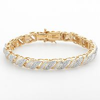 18k Gold Over Silver 1/4 ctT.W. Diamond Swirl Bracelet