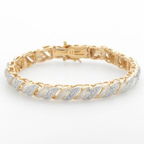 18k Gold Over Silver 1/4-ct. T.W. Diamond Swirl Bracelet