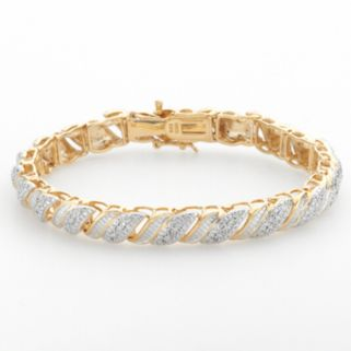18k Gold Over Silver 1/4-ct. T.W. Diamond Swirl Bracelet