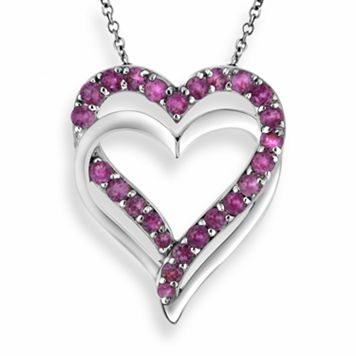 Two Hearts Forever One Sterling Silver Lab-Created Pink Sapphire Double Heart Pendant